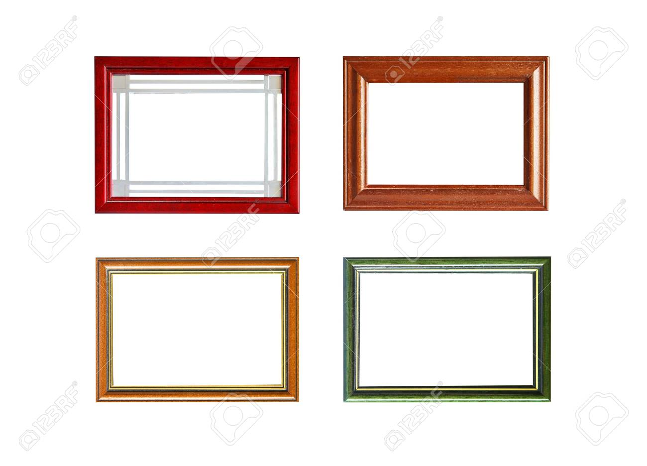 Four Colorful Wooden Picture Frames Isolated On White Background ...