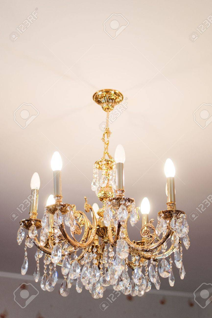 beautiful crystal chandelier in a room Stock Photo - 7035724
