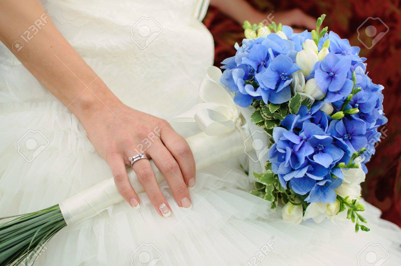 Beautiful Blue And White Fresh Flowers Wedding Bouquet Stock Photo ...
