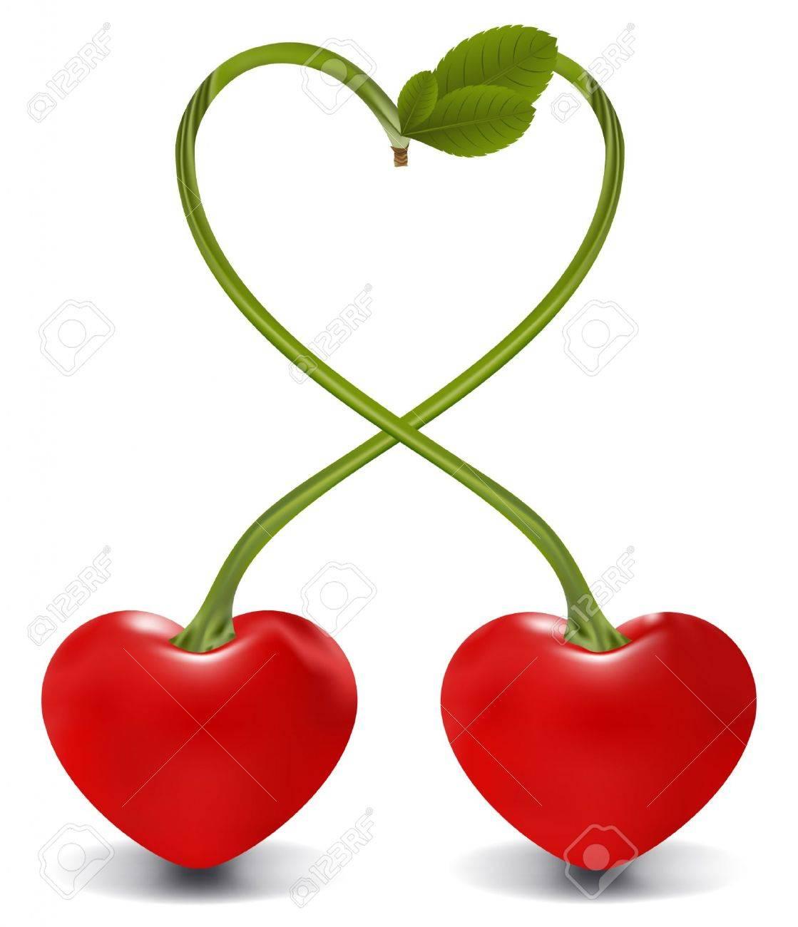 cherry heart in vector, contains gradient mesh elements Stock Vector - 5355310
