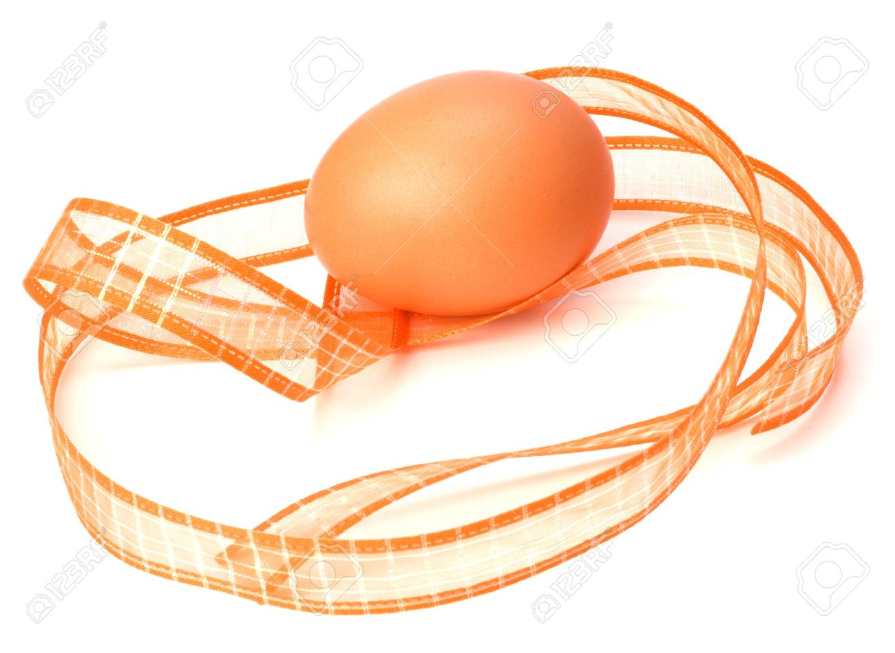 easter egg with ribbon isolated on white Stock Photo - 6239908