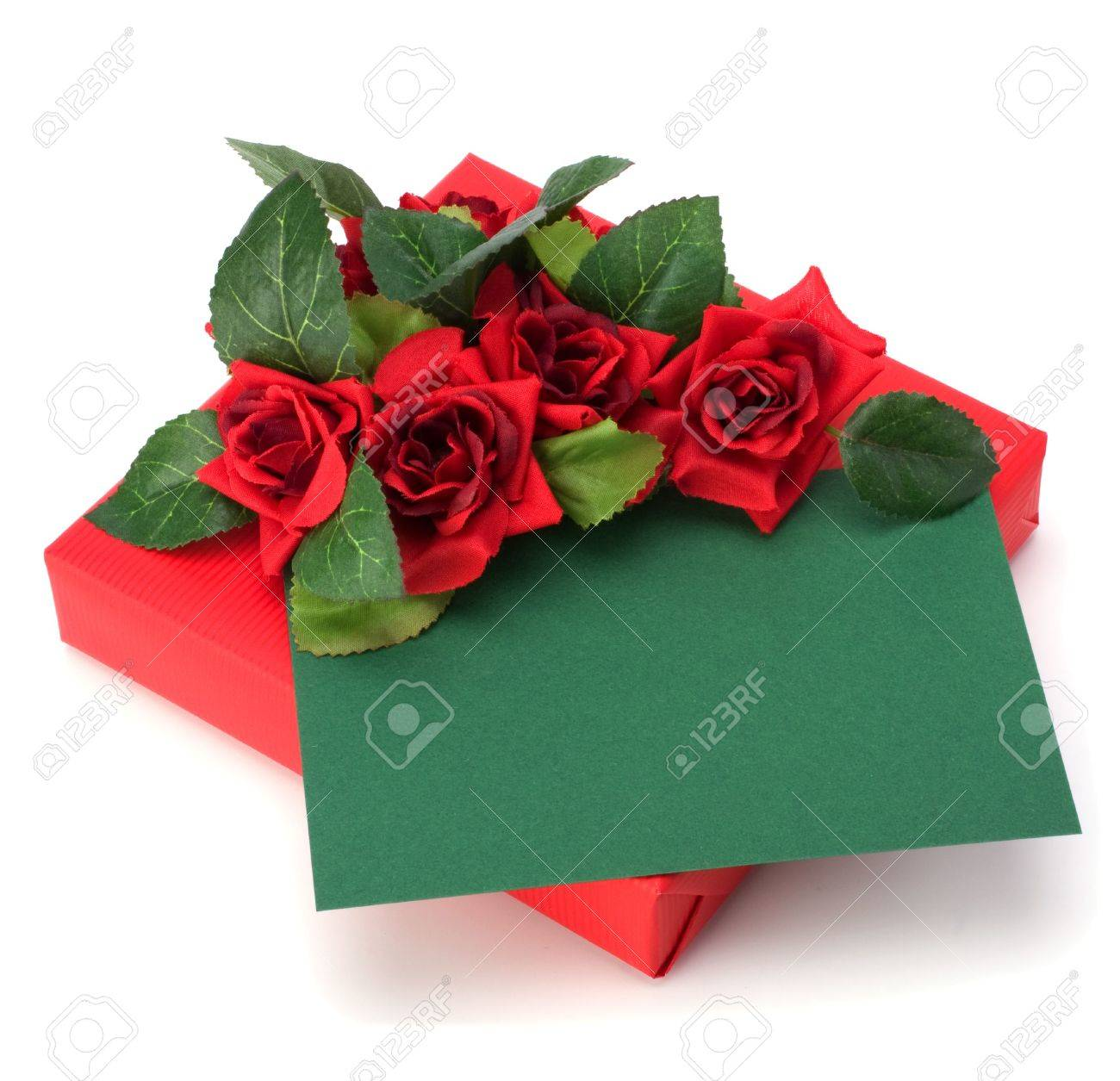 Gift with floral decor. Flowers are artificial. Stock Photo - 6258747