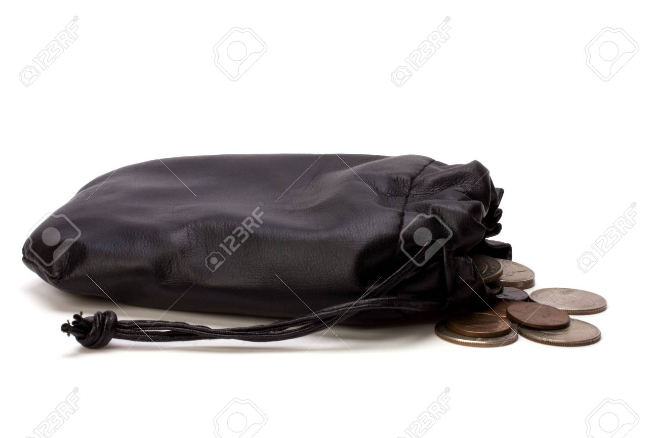 Money in leather  bag isolated on white  background Stock Photo - 6747907