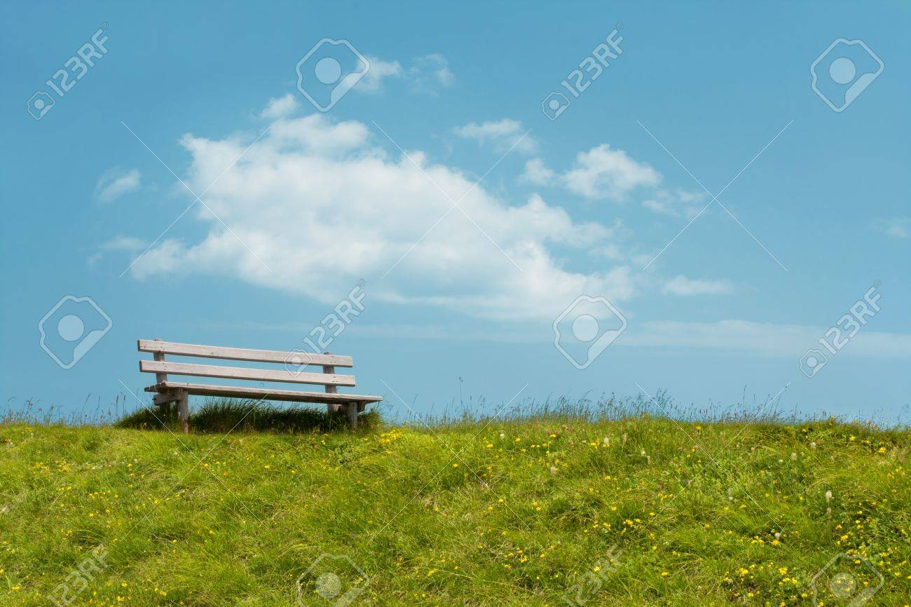 Bench on sky background. Tranquil scene. Stock Photo - 8390539