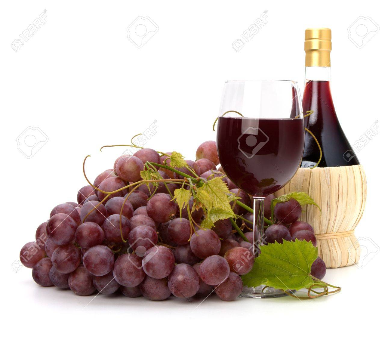 red wine glass, bottle and grape isolated on white background Stock Photo - 8527227