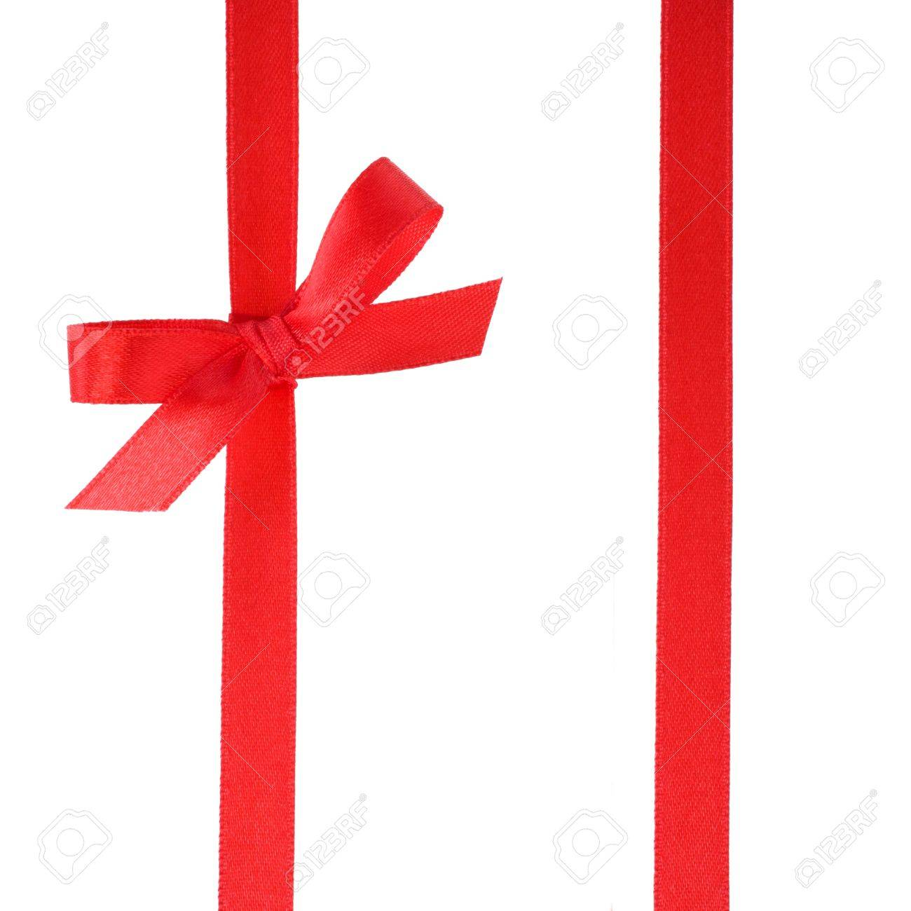Festive gift ribbon and bow isolated on white Stock Photo - 9054451