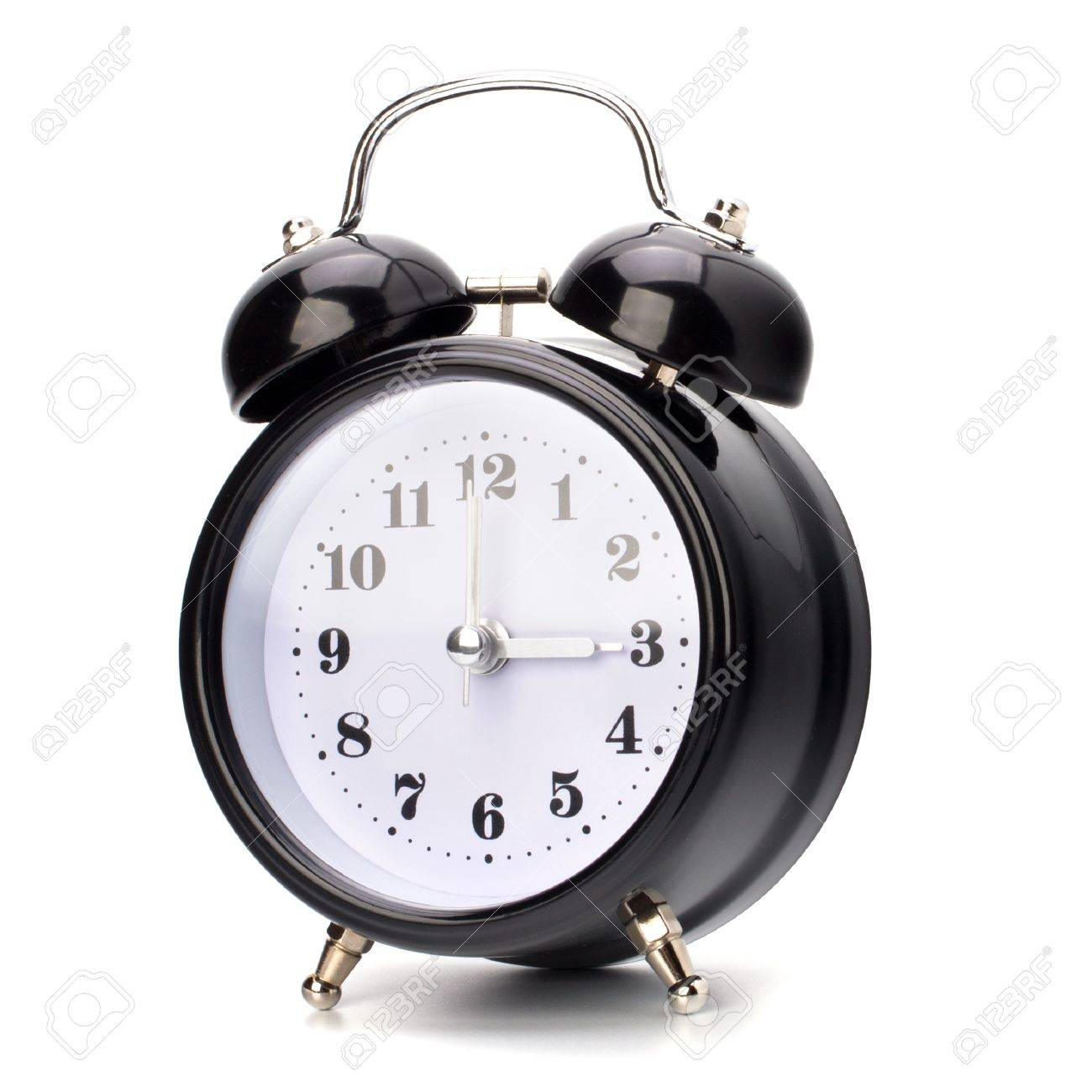 Black alarm clock isolated on white background Stock Photo - 9054287