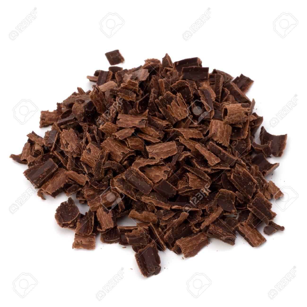 Crushed chocolate shavings pile isolated on white background Stock Photo - 9815987
