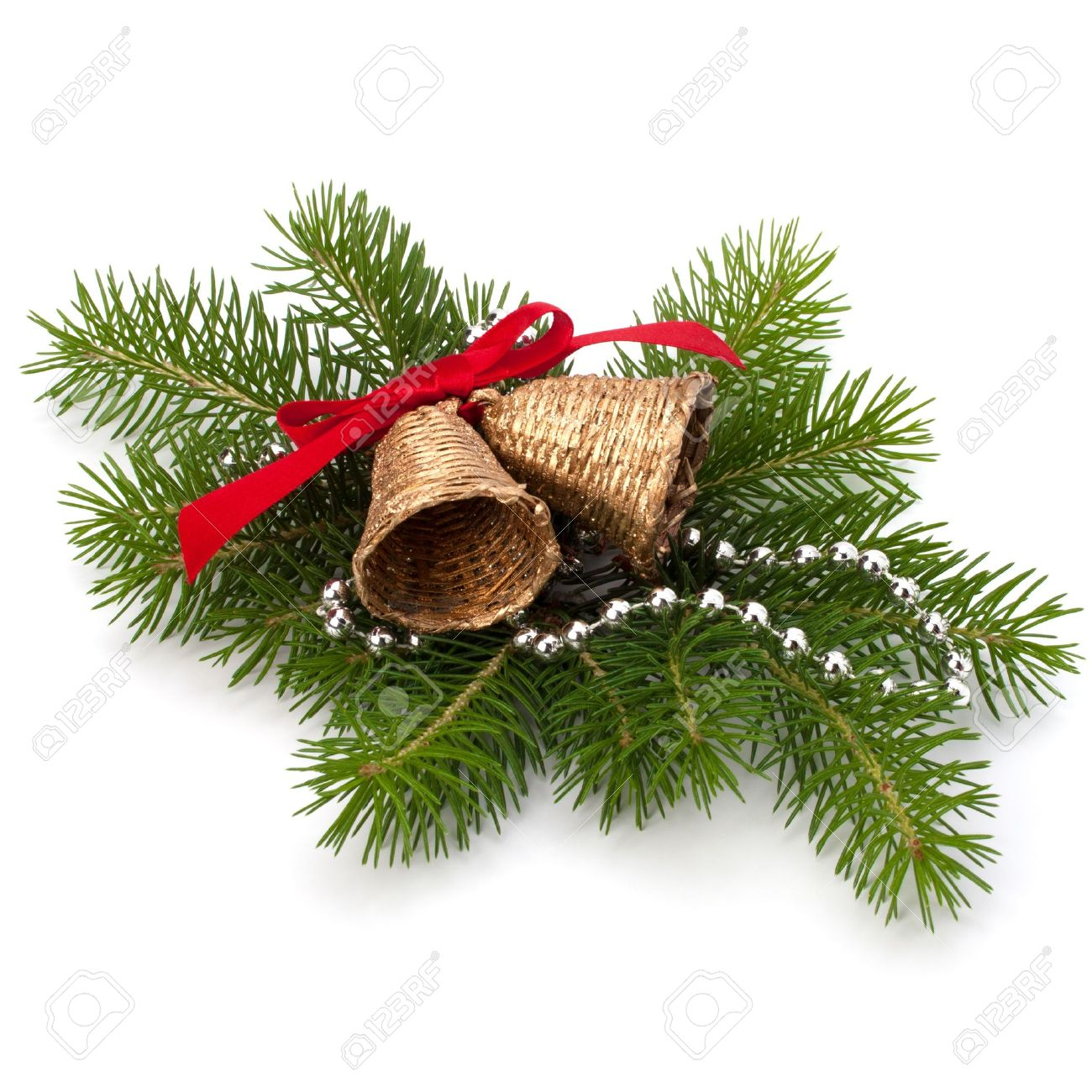 Christmas decoration with bells isolated on white background - 11061250