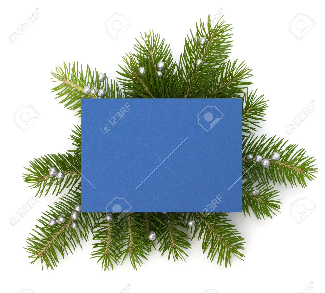 Christmas decoration with greeting card isolated on white background Stock Photo - 13331816