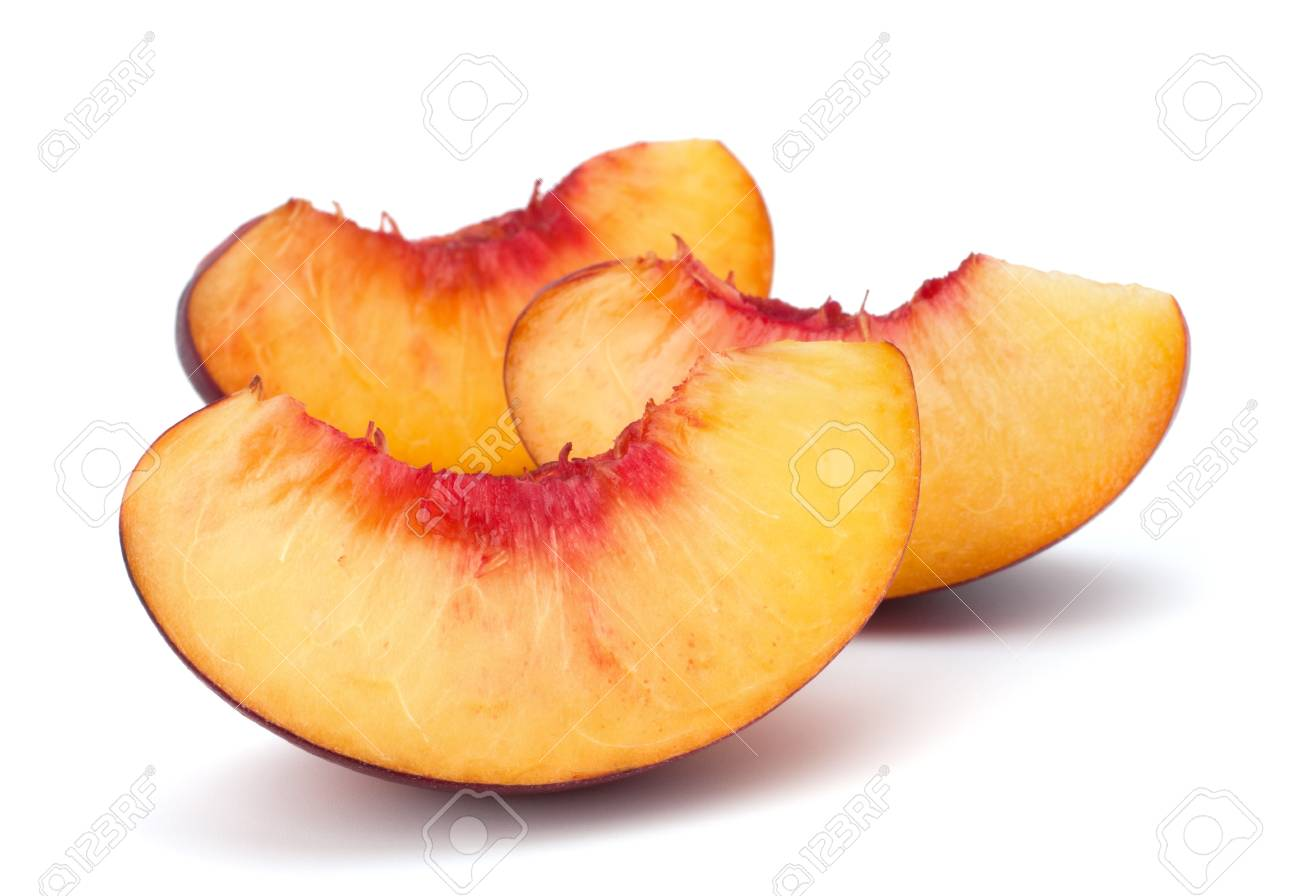 Nectarine fruit segments isolated on white background Stock Photo - 13721859