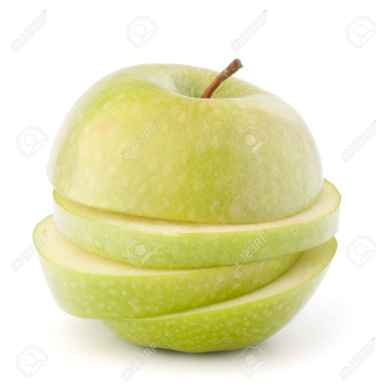 Green sliced apple isolated on white background cutout Stock Photo - 13820017