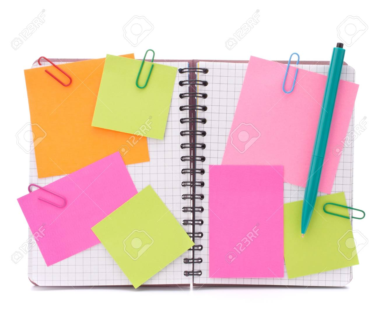 Blank checked notebook with notice papers isolated on white background cutout Stock Photo - 14617833