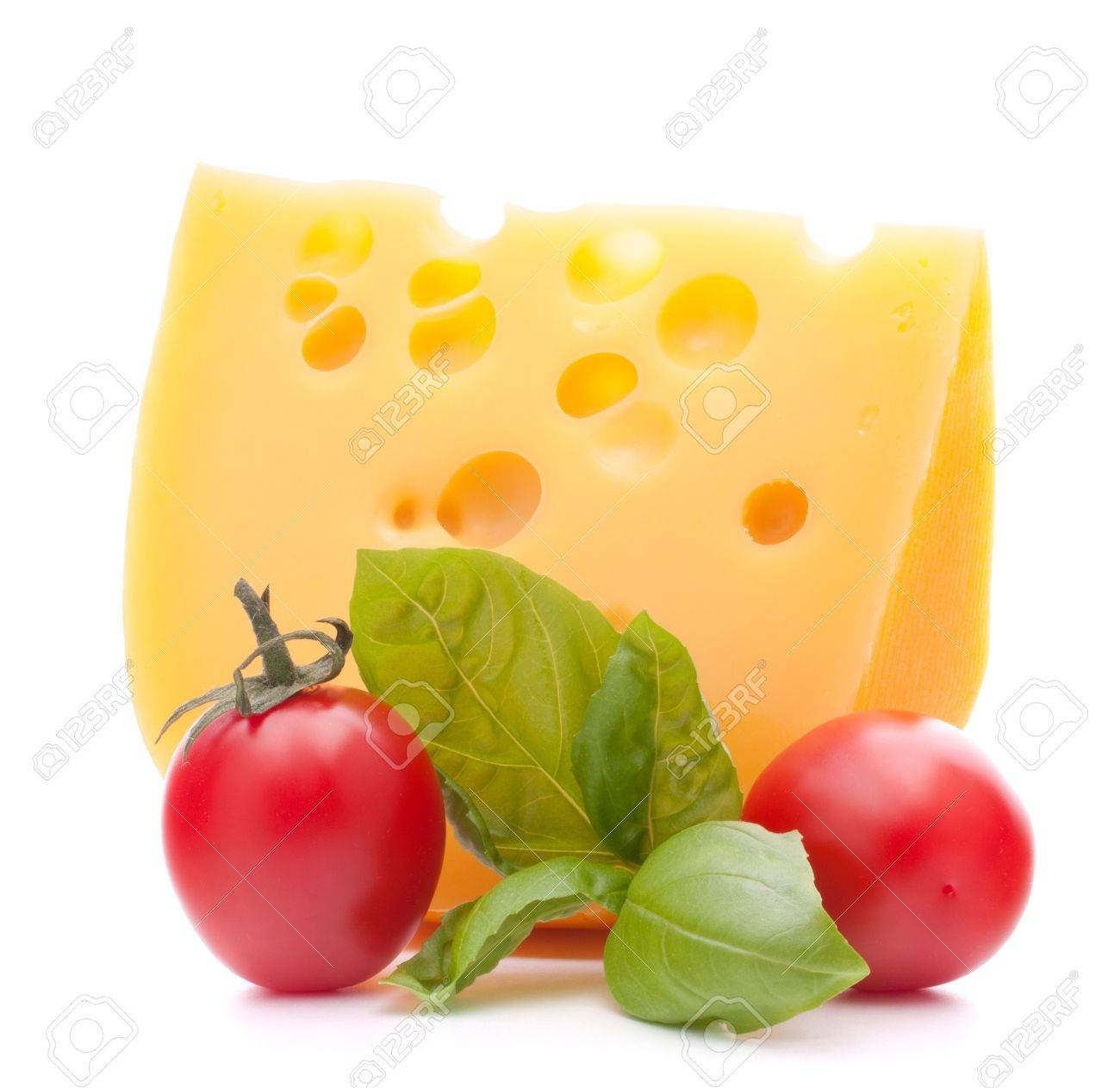 Cheese and basil leaves still life  isolated on white background cutout Stock Photo - 15093419