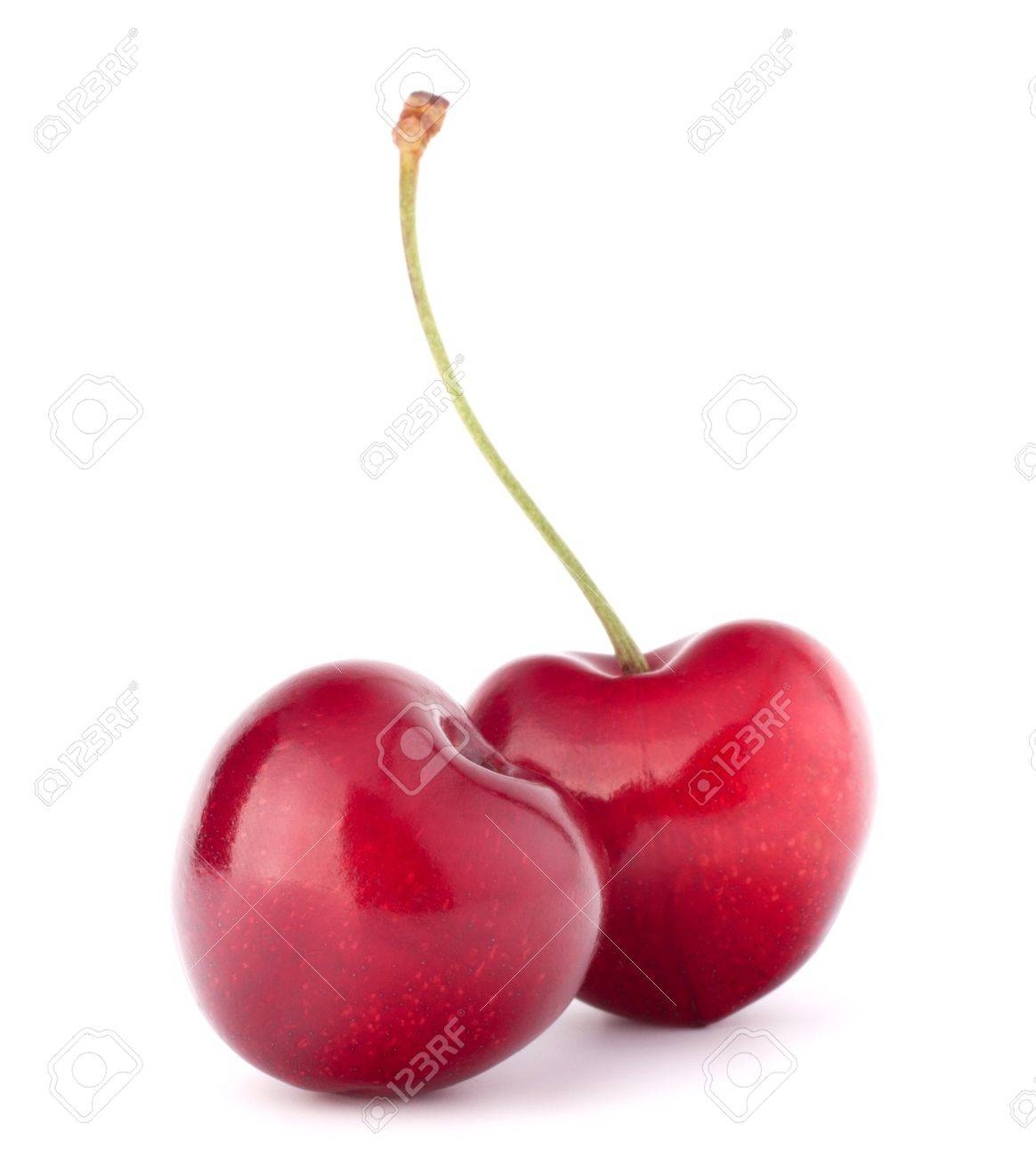 Two heart shaped cherry berries isolated on white background cutout Stock Photo - 16631722