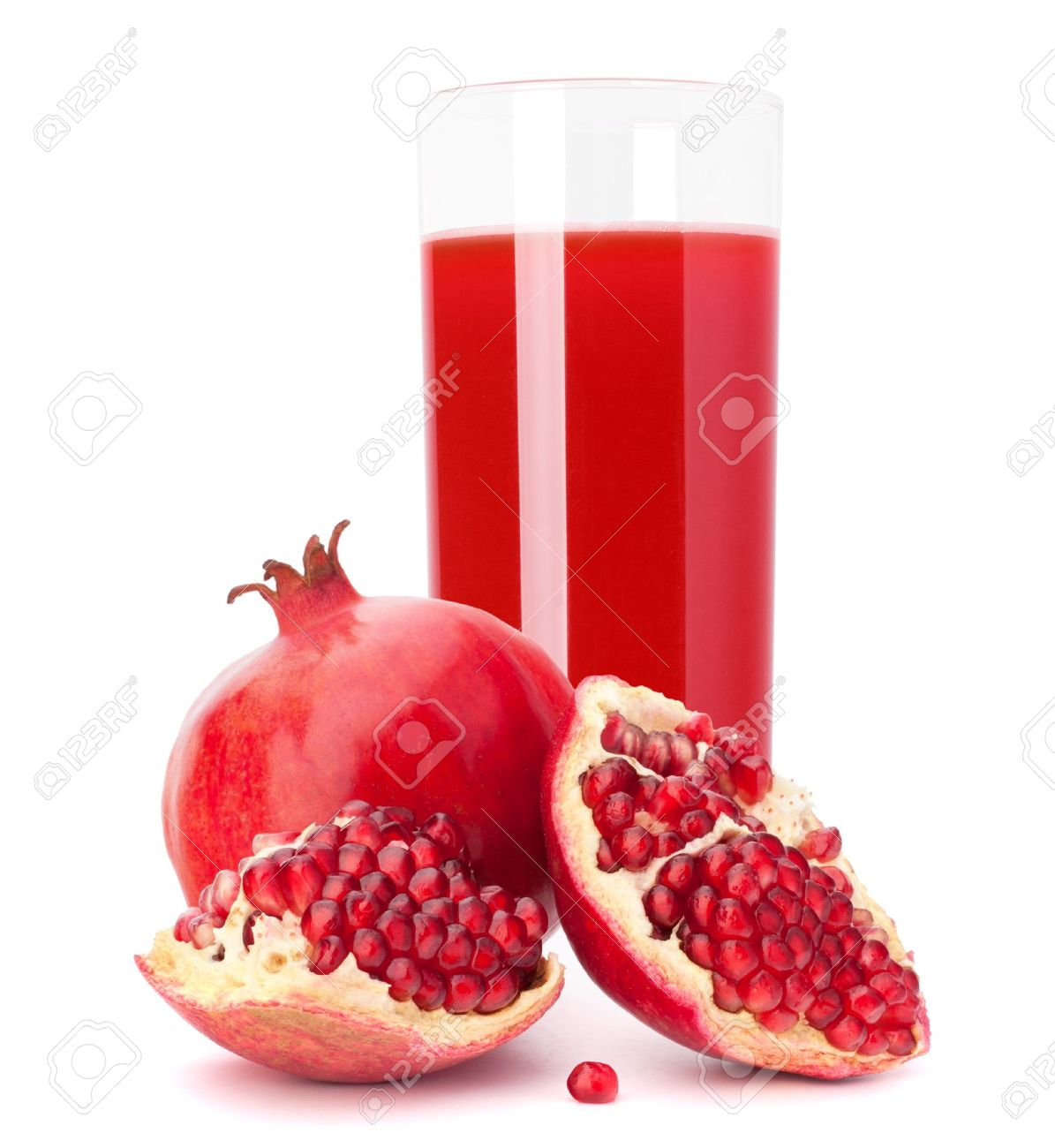 Pomegranate fruit juice in glass isolated on white background cutout Stock Photo - 21345377