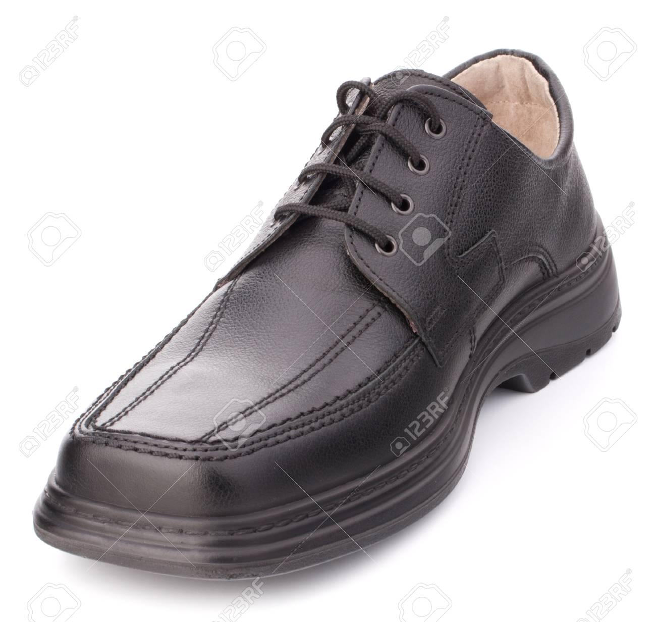 d9e17353b7b708 Banque d'images - Chaussures homme noir brillant de] avec lacets isolé sur  fond blanc