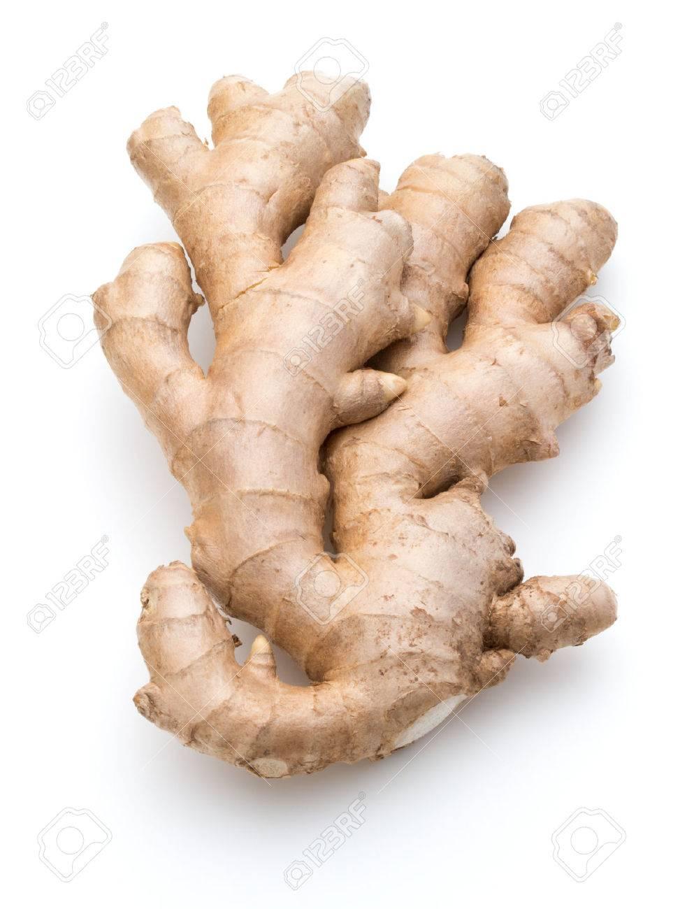 Fresh ginger root or rhizome isolated on white background cutout - 37862859