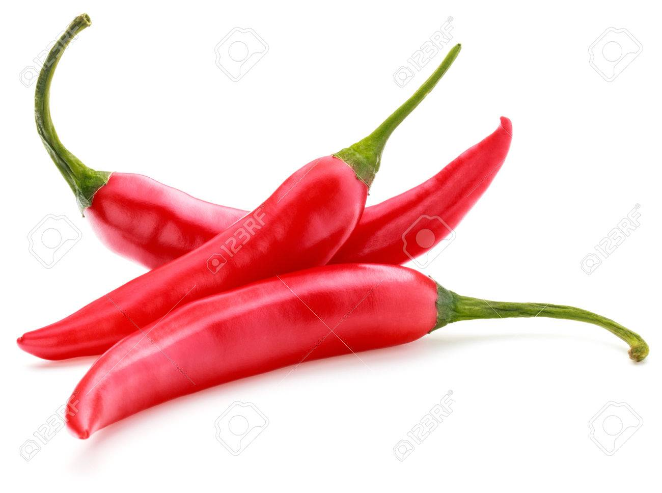 red chilies or chilli cayenne peppers isolated on white background - 41084133