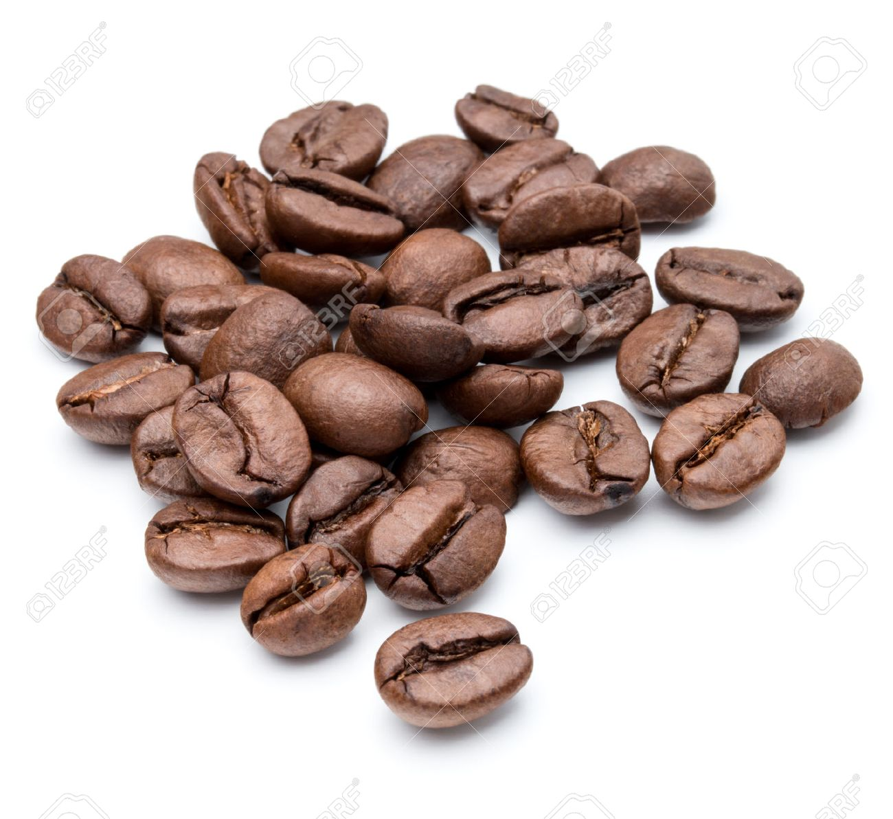 roasted coffee beans isolated in white background cutout - 42961030