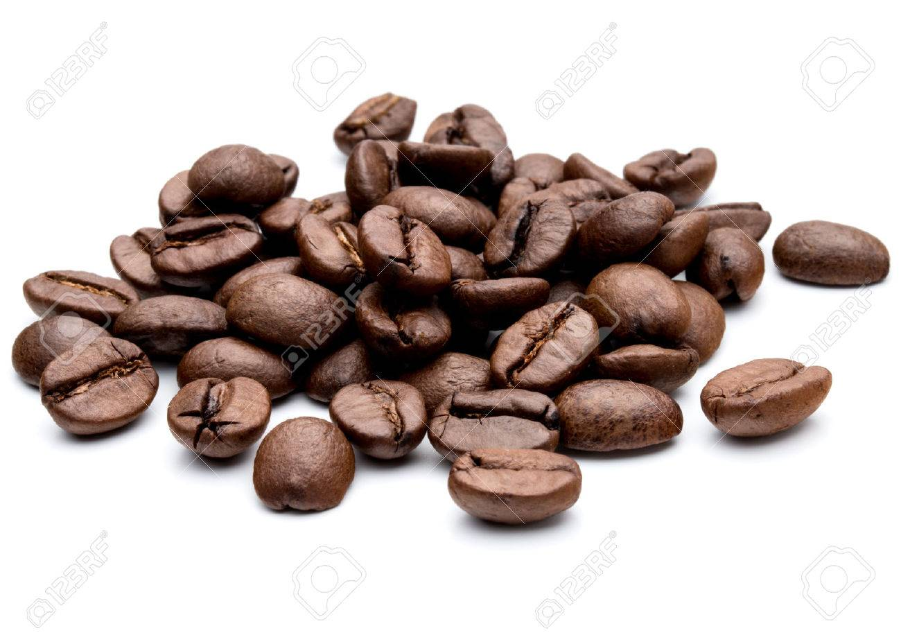 roasted coffee beans isolated in white background - 48844592
