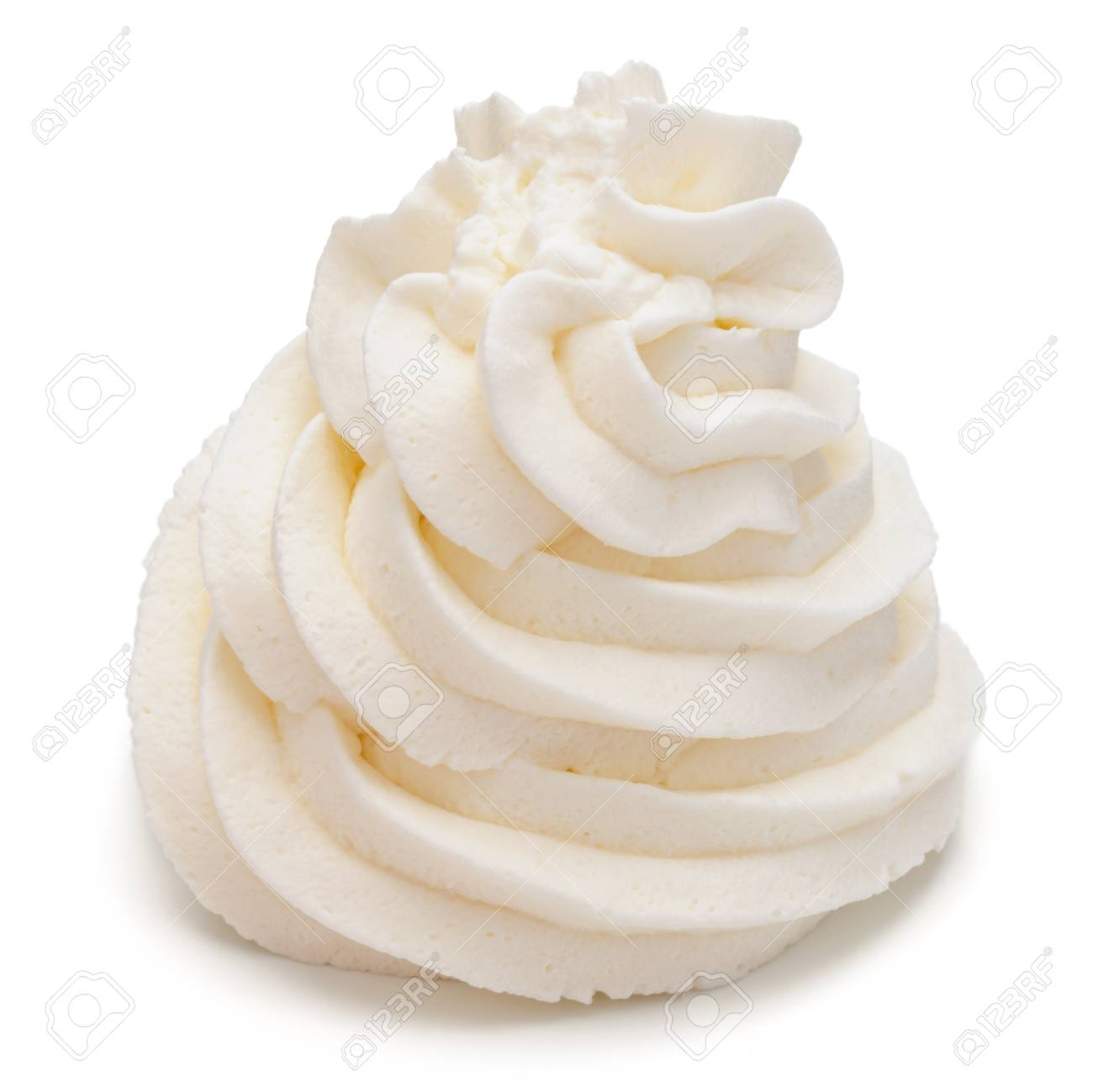 900ac3e5e Whipped Cream Swirl Isolated On White Background Cutout Stock Photo ...