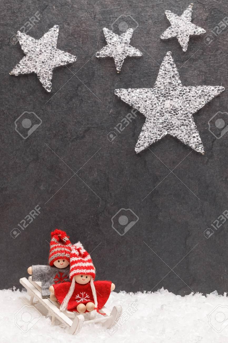 Weihnachtsgrußkarte. Noel Festlicher Hintergrund. Neujahrs-Symbol ...