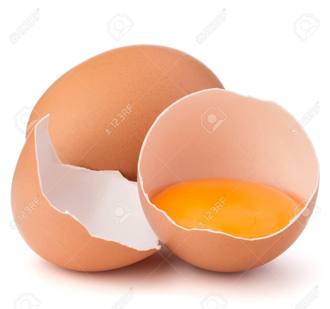 Broken Egg In Eggshell Half And Raw Egg Isolated On White Background