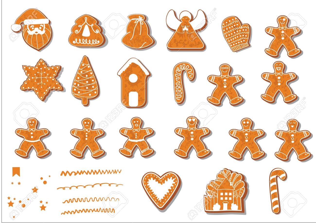 Baking Christmas Cookies Clipart.Set Of Christmas Cookies Set Of Different Gingerbread Cookies
