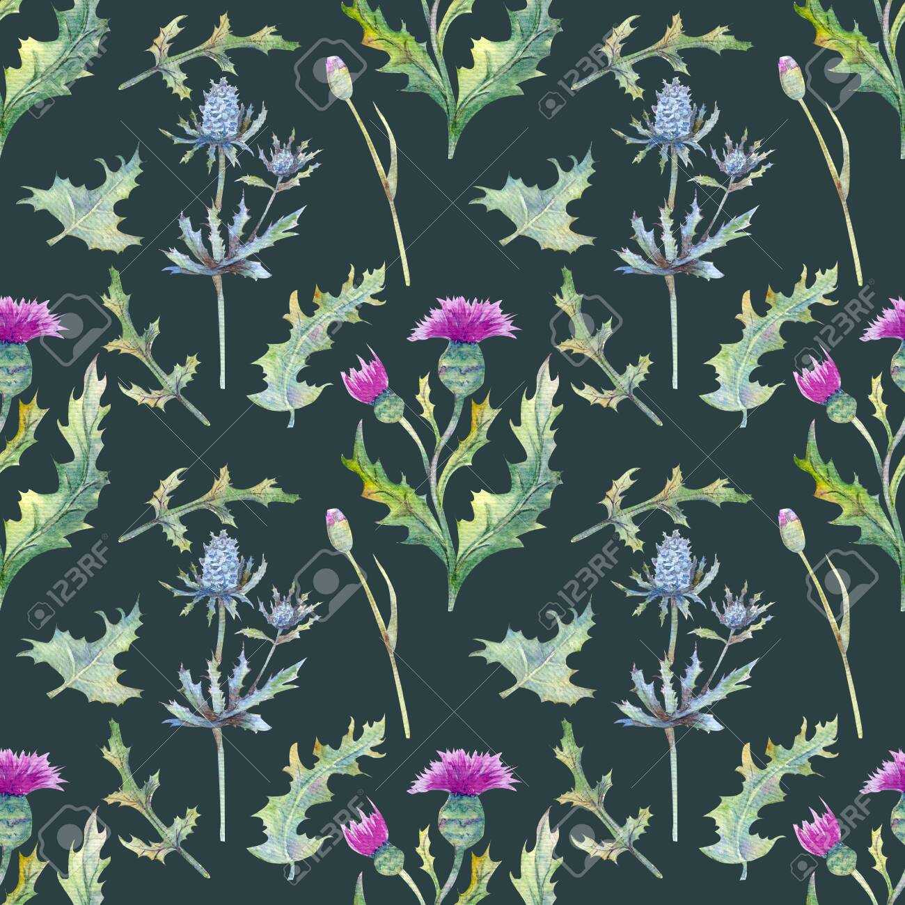 Seamless Background With Spring Flowers And Leaves Wildflowers