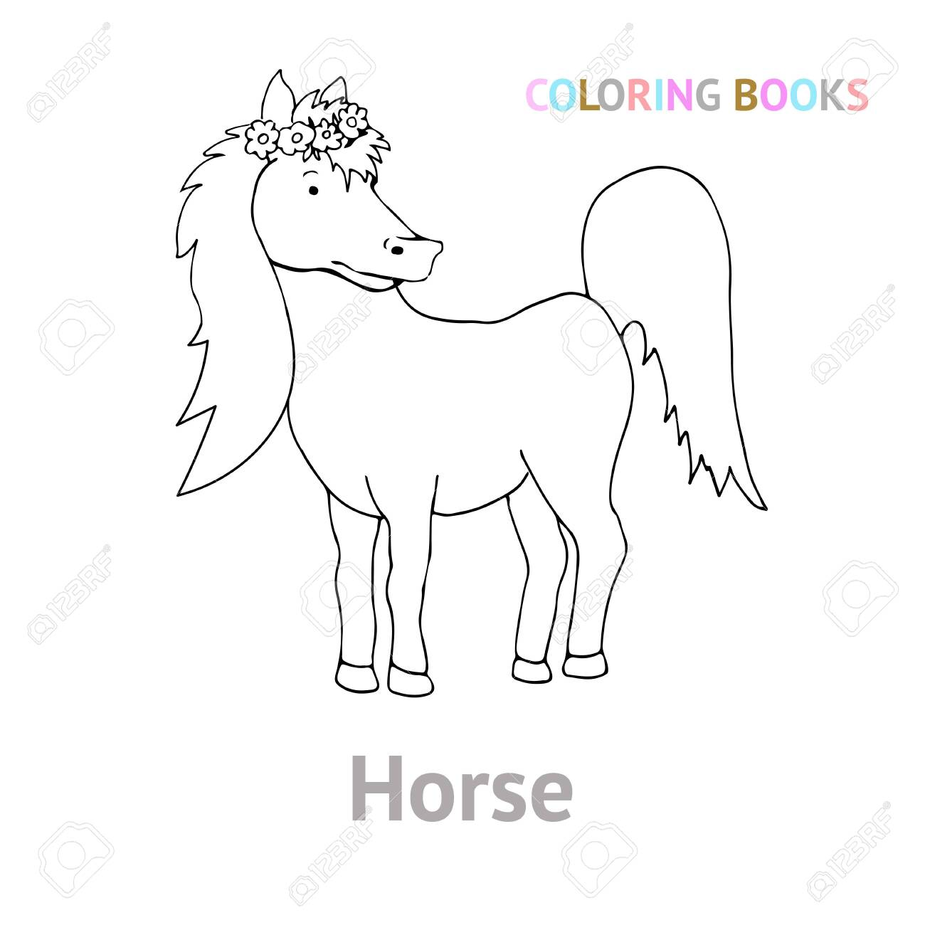 The Pet Is A Horse Cute Illustration In Doodle Style Black Royalty Free Cliparts Vectors And Stock Illustration Image 144872112