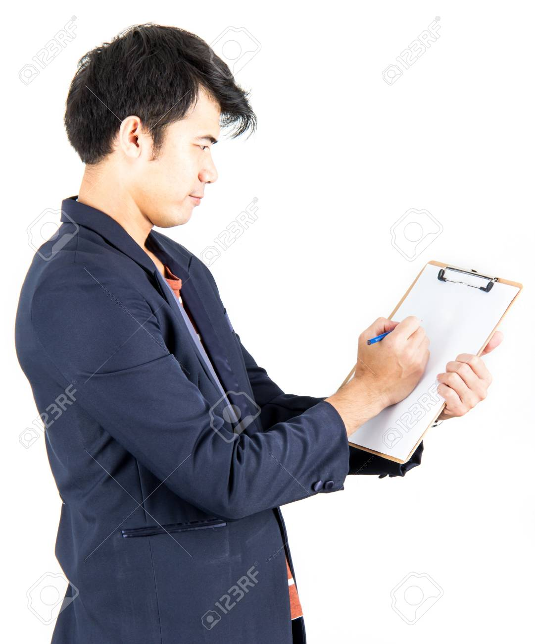 Businessman with clipboard and pencil against isolated Stock Photo - 18005644