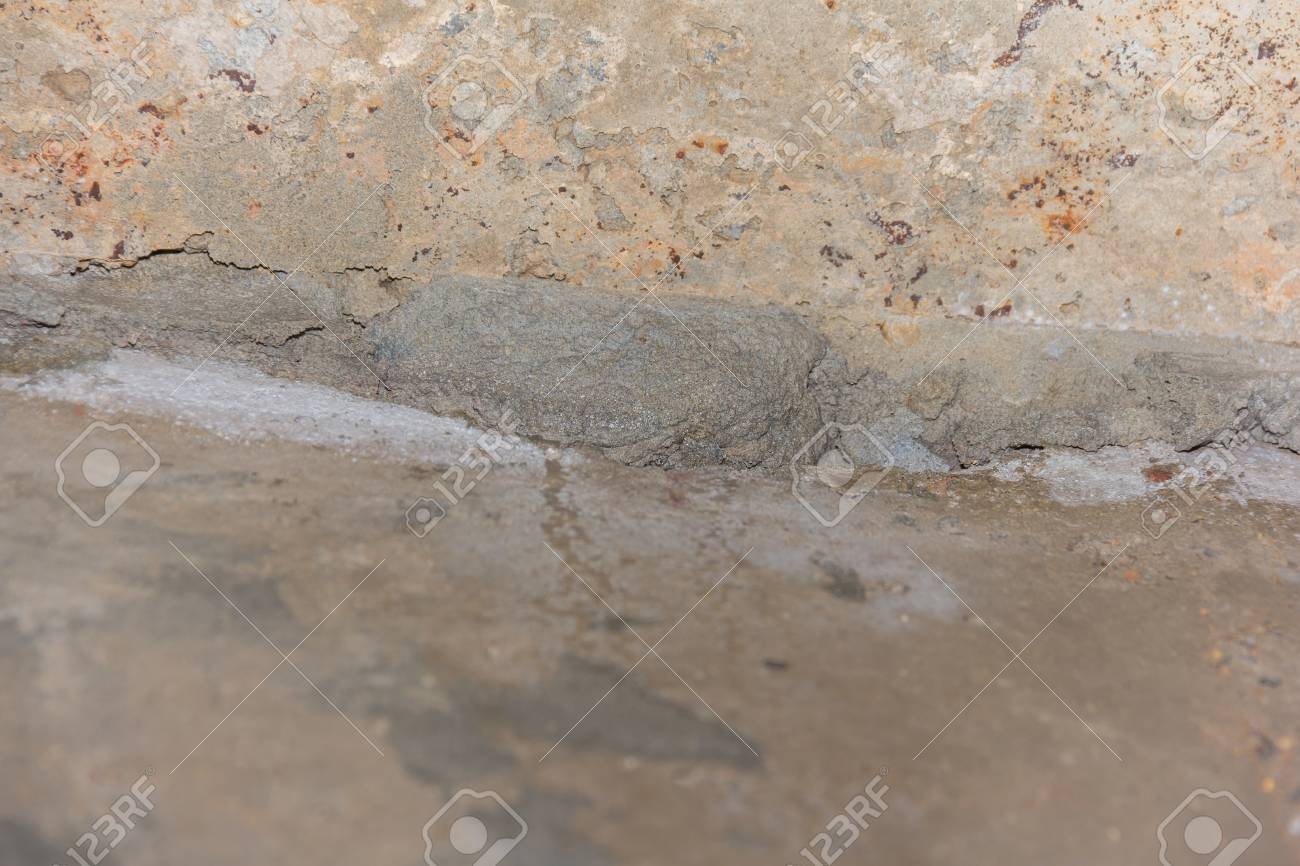 Ceiling Concret Crack Water Leak Under Bathroom Stock Photo Picture - Water leaking from ceiling under bathroom