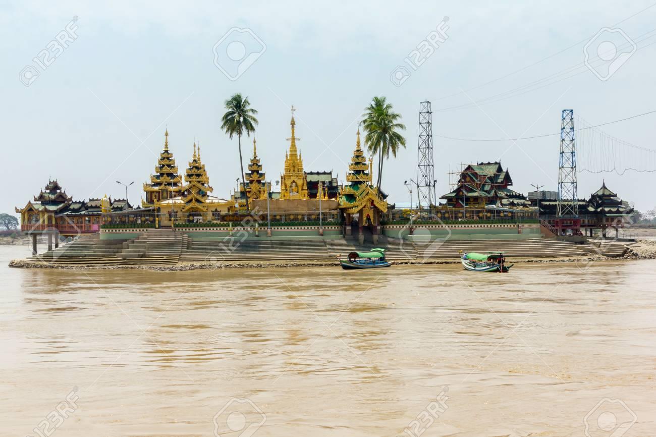 Kyaik Hwaw Wun Pagoda in river at Yangon, Myanmar - 122662863