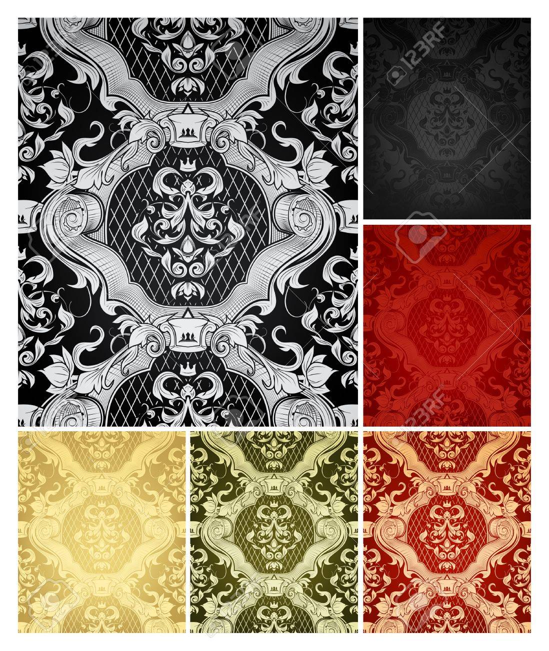 Seamless Wallpaper Pattern, set of six colors Stock Vector - 13759076
