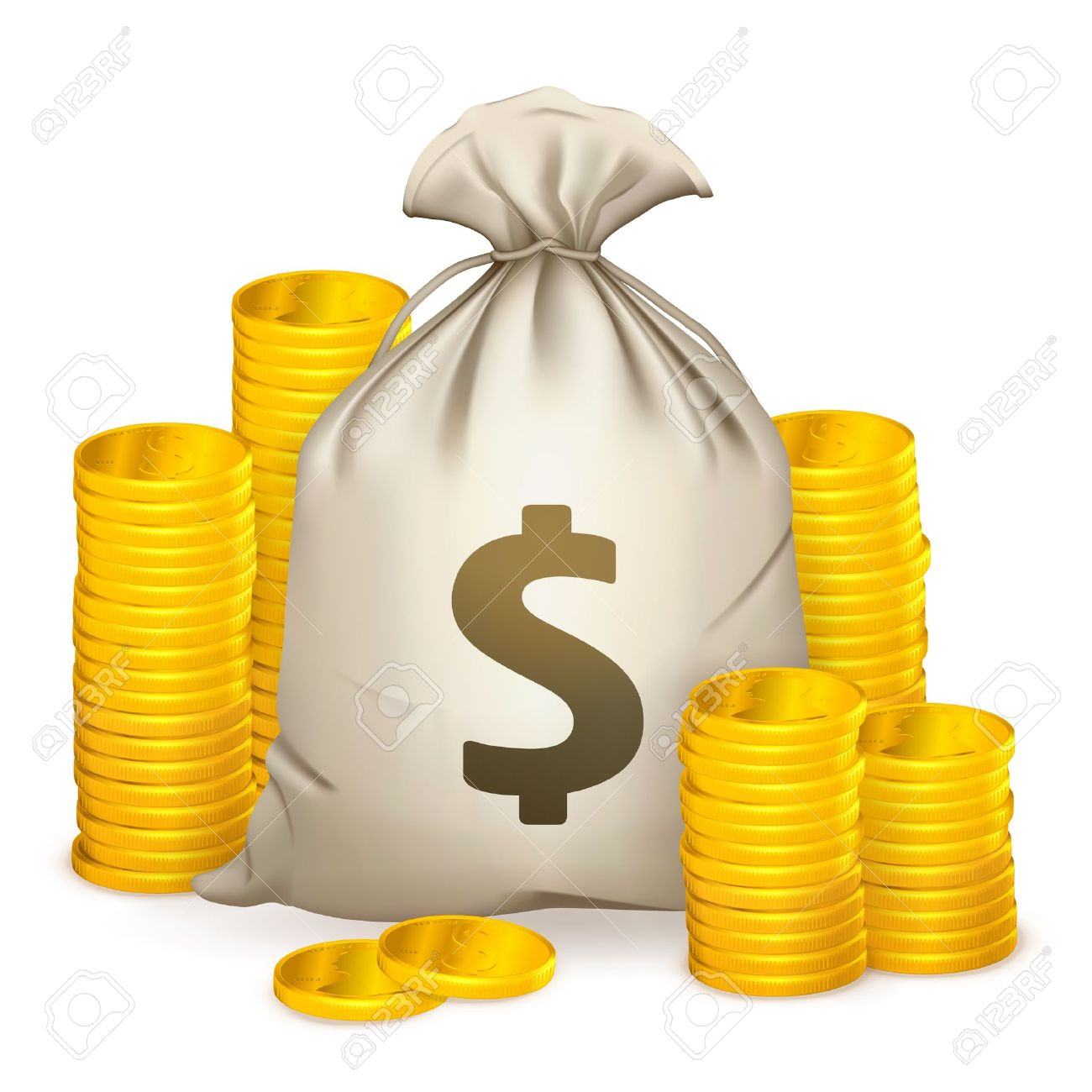 Stacks of coins and money bag - 13798360