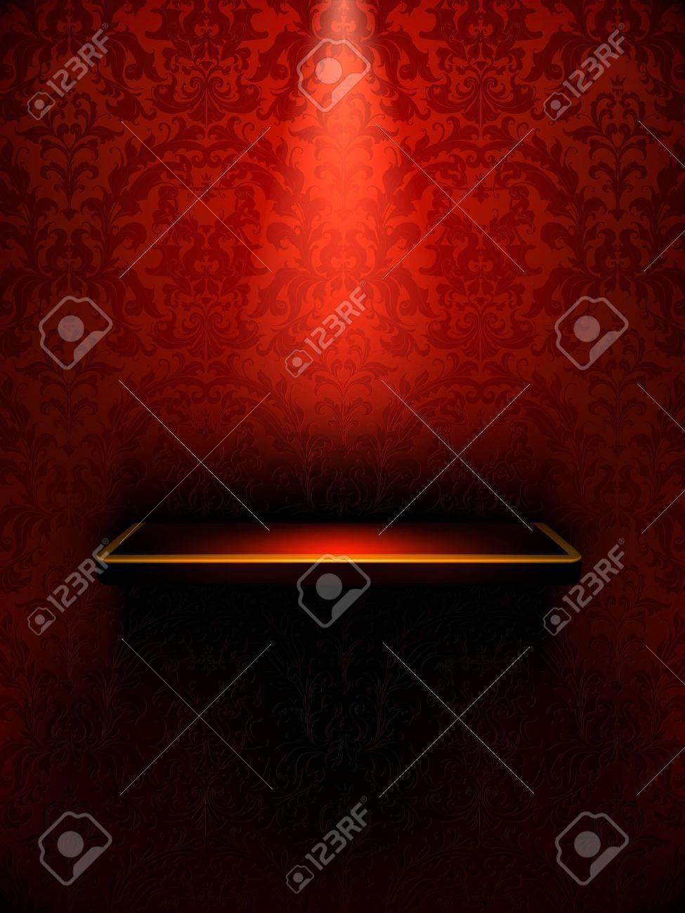 Empty shelf, red luxury Stock Vector - 13843479