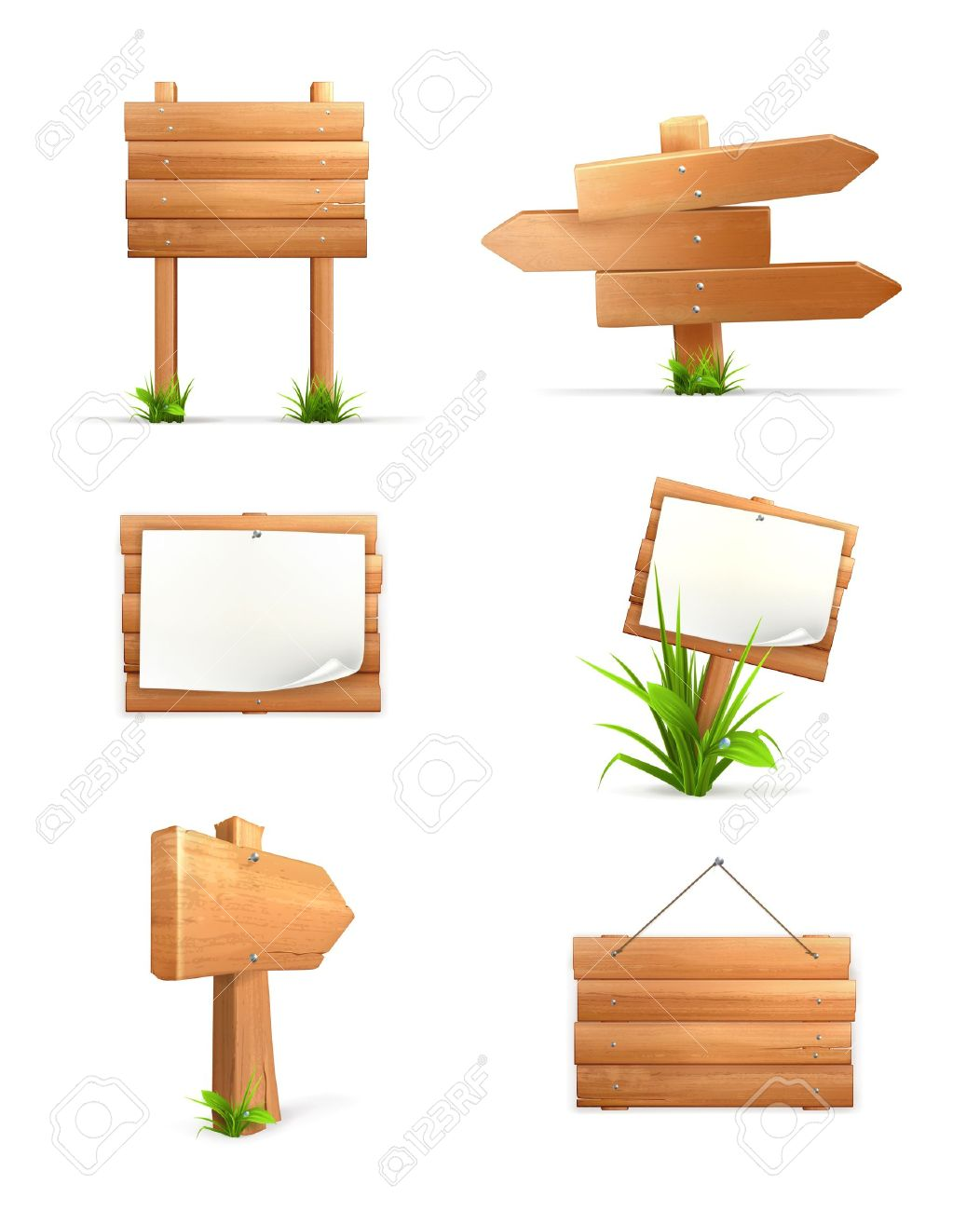 Wooden signs set - 13868909