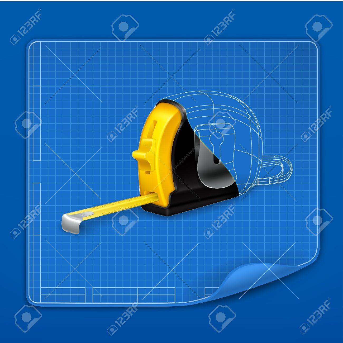 Tape measure drawing blueprint Stock Vector - 14277269