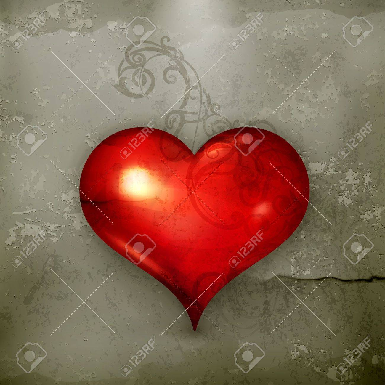 Red Heart, old-style Stock Vector - 15257279