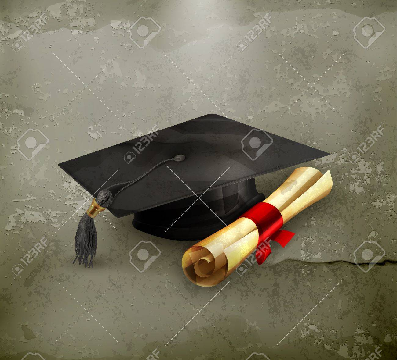 Graduation cap and diploma, old-style - 15808464