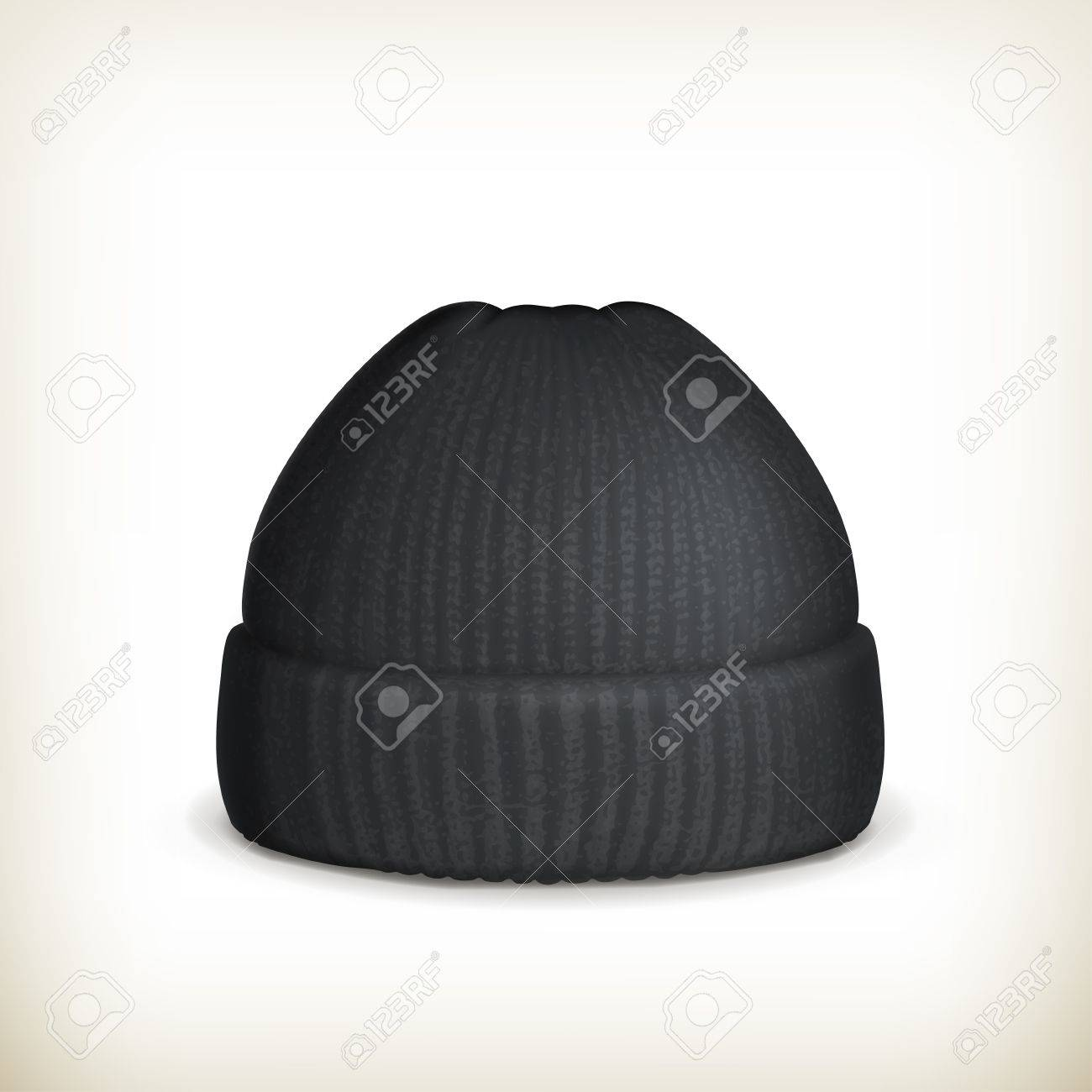Knitted black cap Stock Vector - 16728068