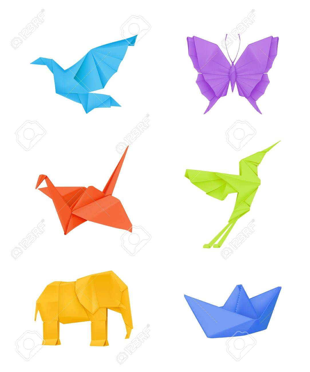 Origami Set Multicolored Royalty Free Cliparts Vectors And Stock
