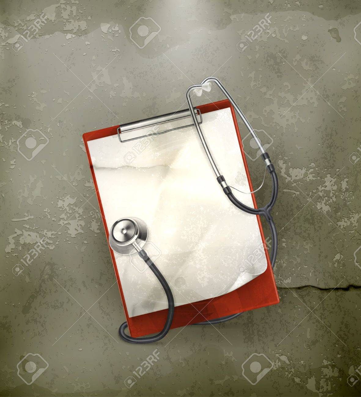 Clipboard with stethoscope, old-style Stock Vector - 17148851