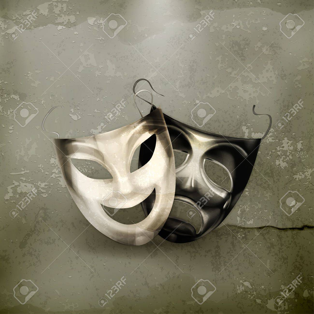Theater masks, old-style - 17148864
