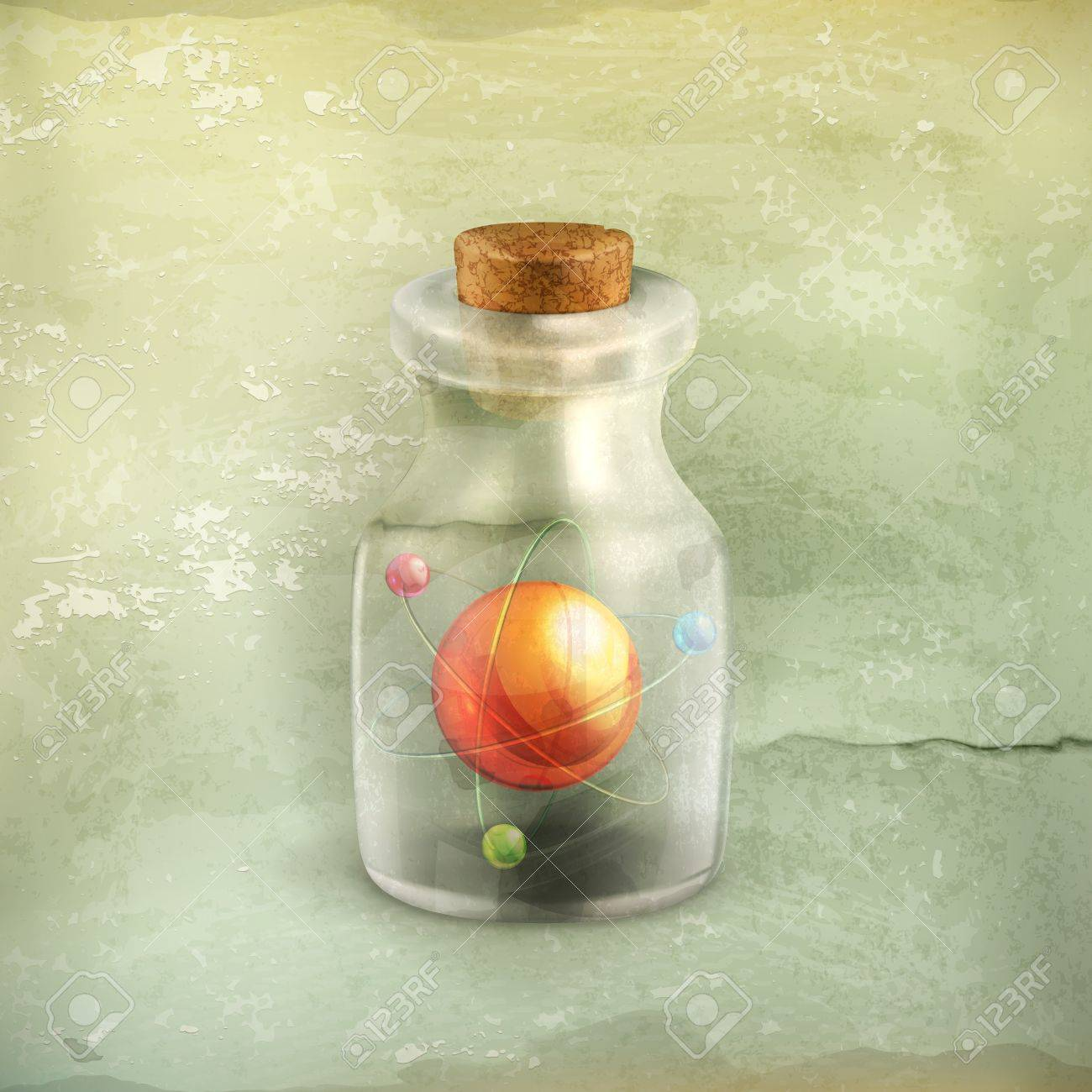 Atom in a bottle, old style Stock Vector - 19438708
