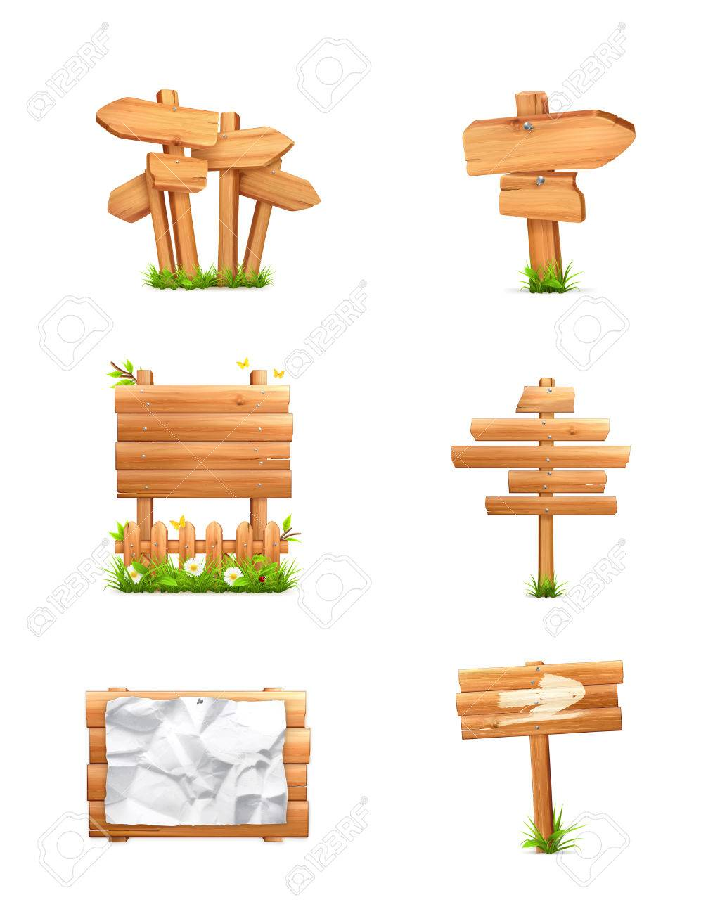 Wooden signs set - 22197580