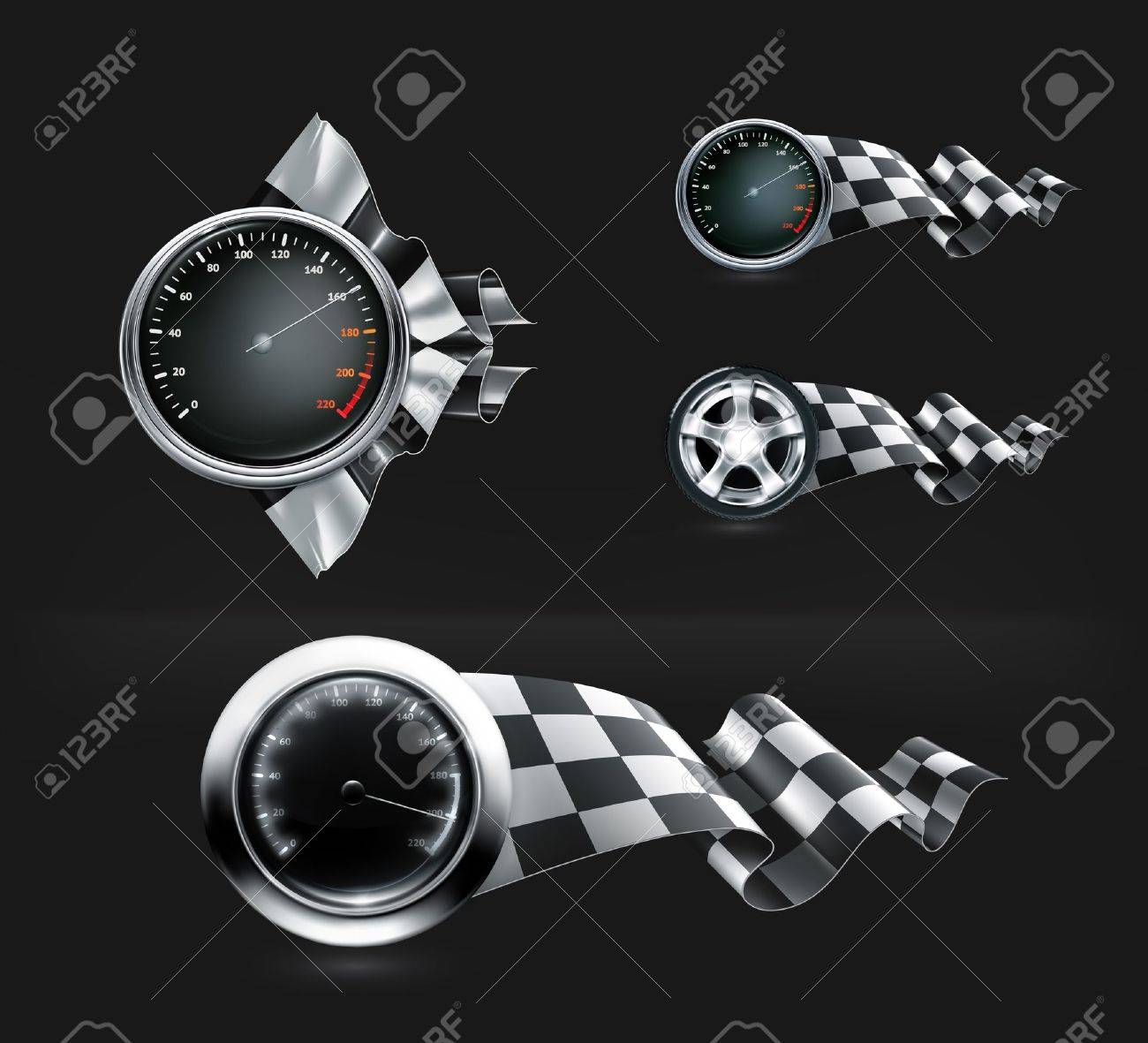 Racing emblems on black Stock Vector - 22222013