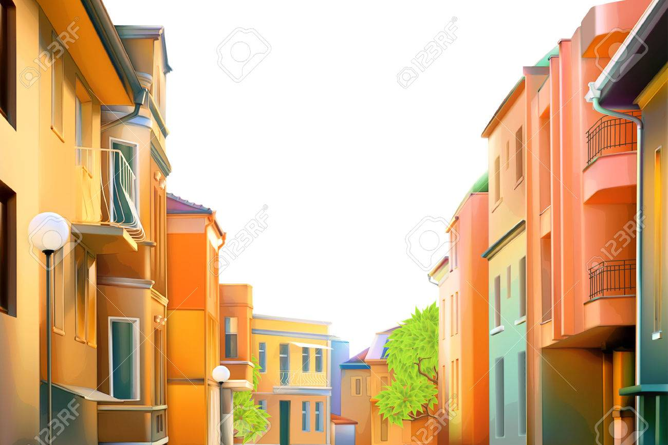 Urban landscape, a typical residential street of the provincial town Stock Vector - 39568610
