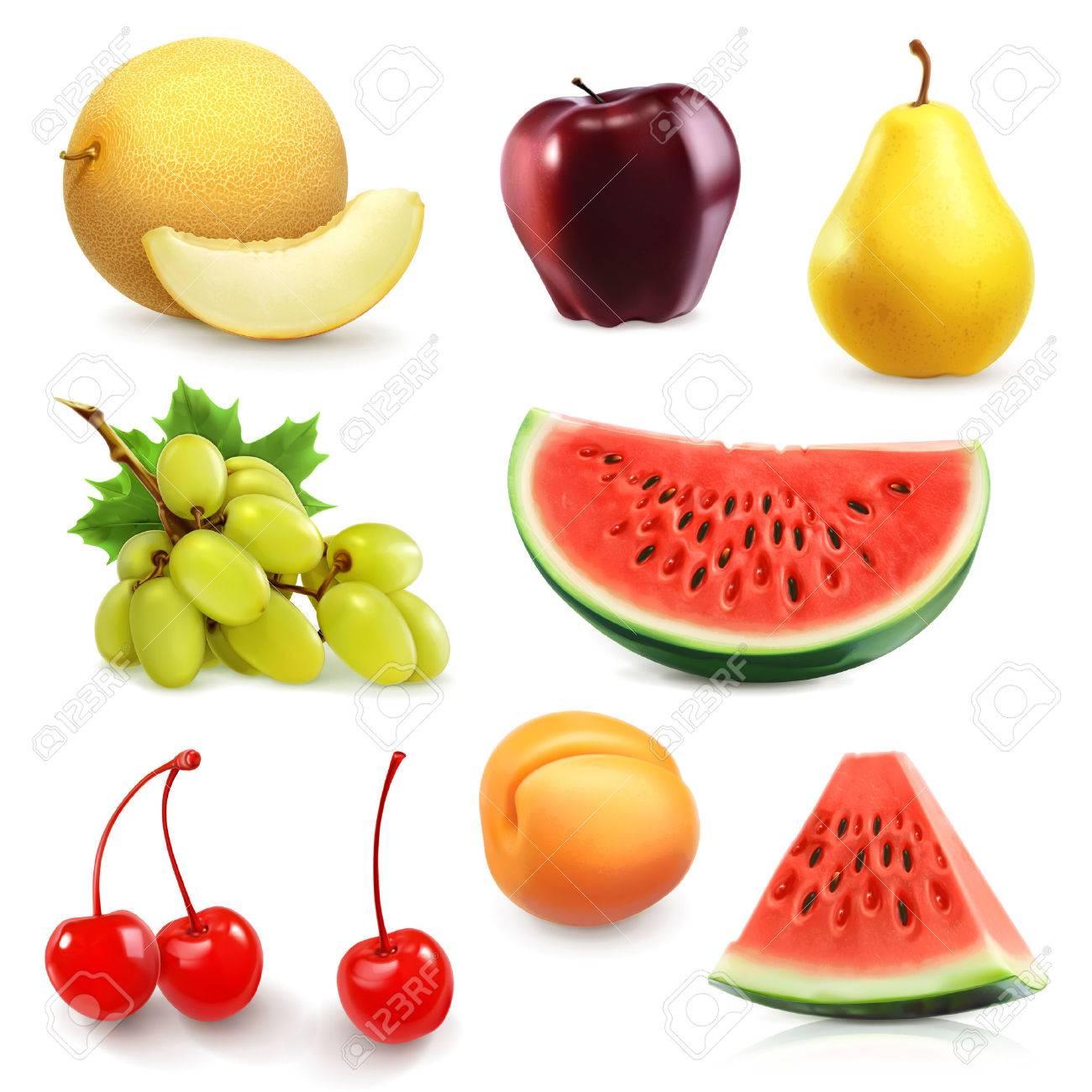 Summer fruits, set of vector icon Stock Vector - 41219635